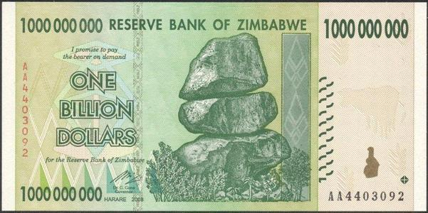 Billion Zimbabwe dollars using the American nomenclature