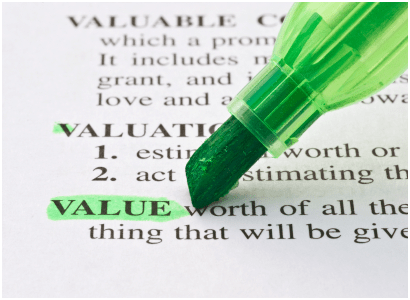 Difference between market value, company value, notional value and intrinsic value
