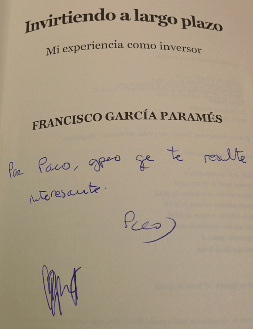Long Term Investing Book by Francisco García Paramés signed