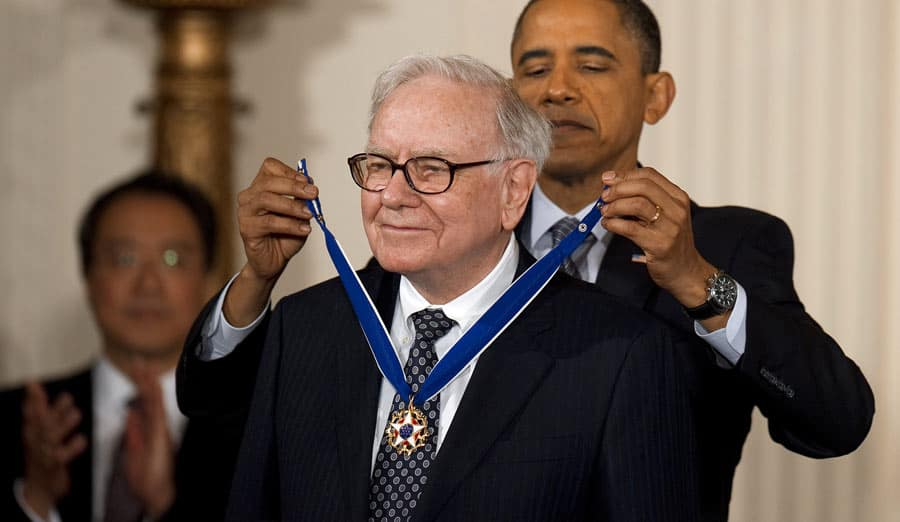 Obama presenting the Presence Medal of Freedom to Warren Buffett